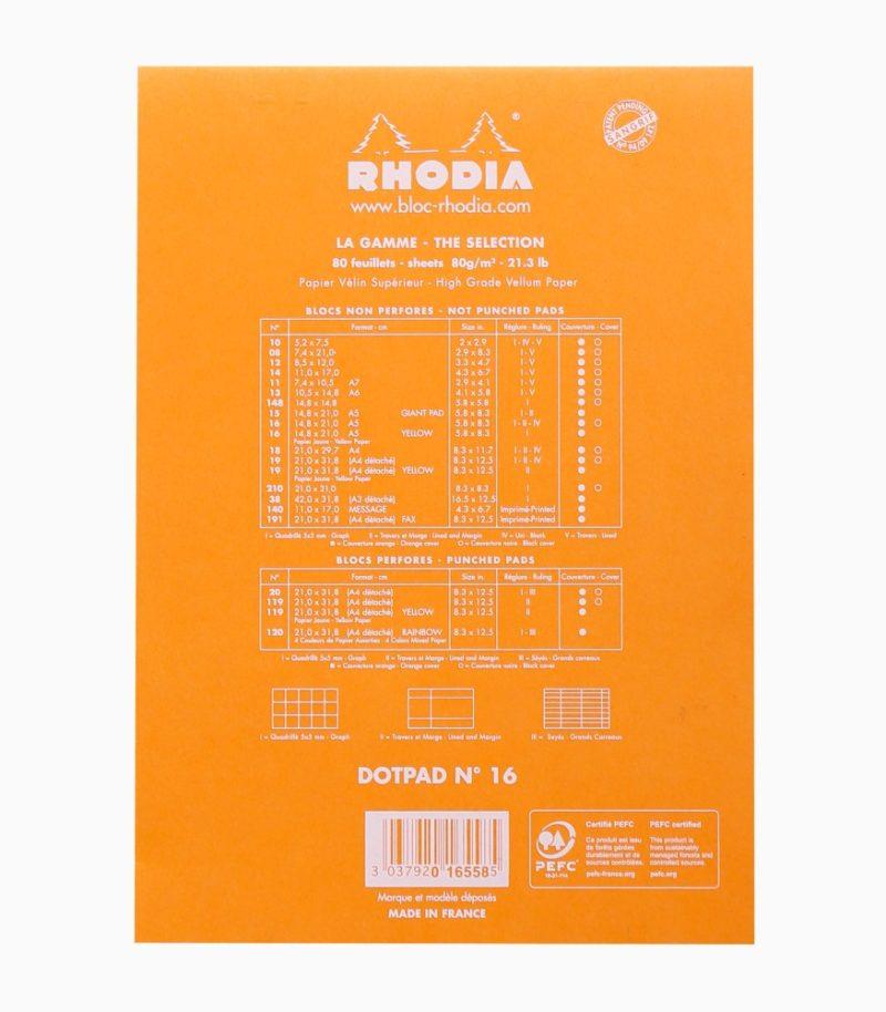 Blocnotes capsat A5 dotPad Rhodia portocaliu spate