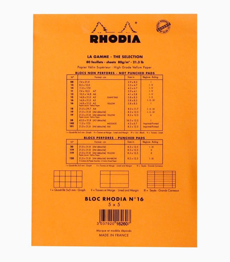 Blocnotes N°16 A5 capsat Rhodia Orange spate