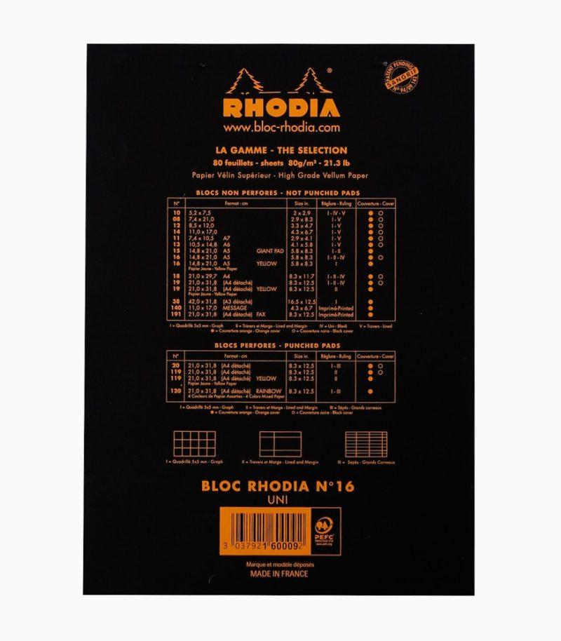 Blocnotes N°16 A5 capsat Rhodia velin spate