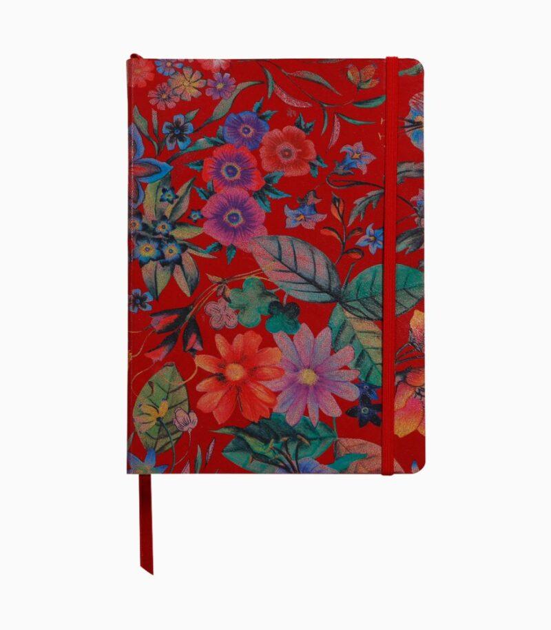 Notebook coperta tare piele, A5, Clairefontaine Celeste Red garden