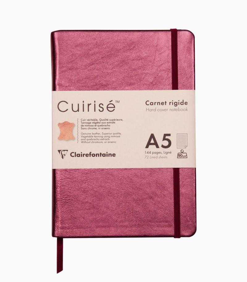 Notebook cu copertă tare din piele Cuirise A5 Clairefontaine Cherry
