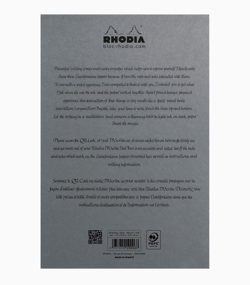 PAScribe Grey Maya Pad A4+ Rhodia spate