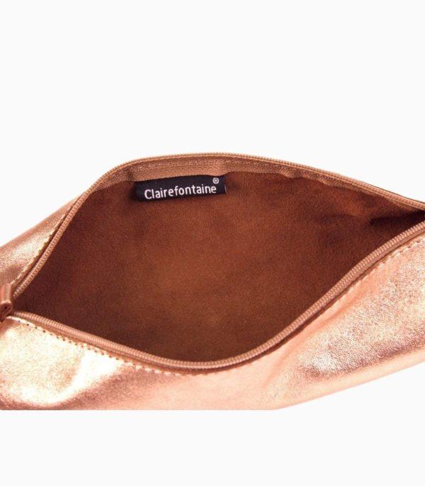 Penar cilindric din piele Cuirise Clairefontaine Copper, deschis