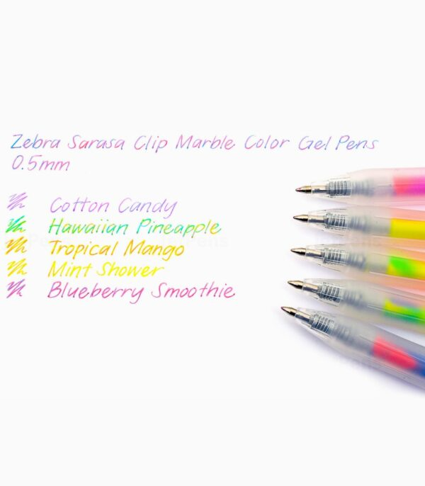 Pix cu gel Sarasa Marble 5 culori/set Zebra exemplu