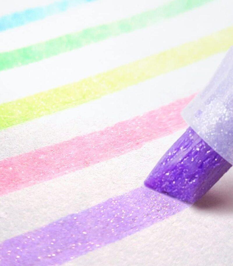 Textmarker Kirarich Glitter 5 culori/set Zebra exemplu